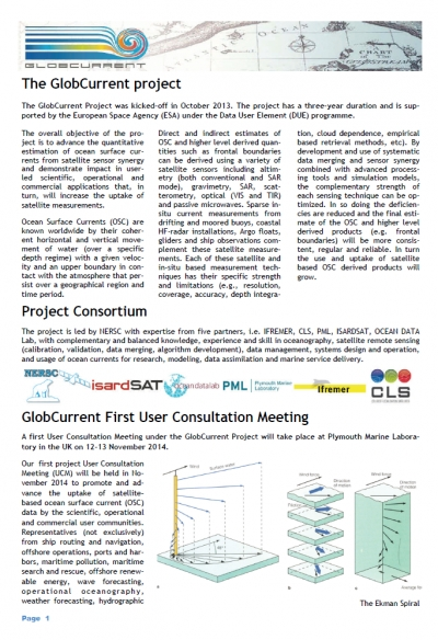 GlobCurrent Newsletter #1 - Friday July 11, 2014